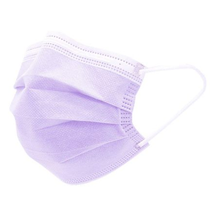 Μάσκα προστασίας μίας χρήσης τριών στρωμάτων (3ply) με λάστιχο (50τμχ) μωβ χρώματος