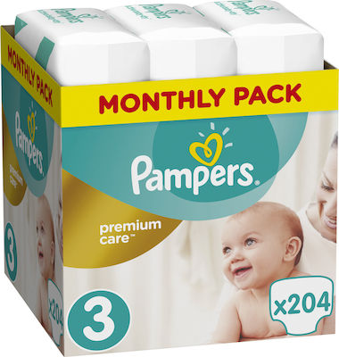 Monthly Pack Pampers Premium Care No 3 (5-9 Kg) 204 τμχ
