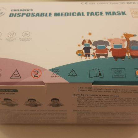 Ιατρική Παιδική Μάσκα Μιας Χρήσης 3ply BFE>98% Type IIR 50τμχ TieXiong Γάλάζιο Χρώμα